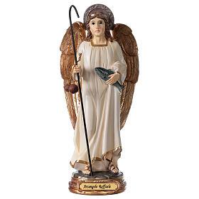 Statua Arcangelo Raffaele bianco oro resina 20 cm s1