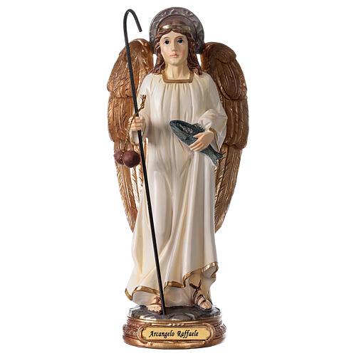 Statua Arcangelo Raffaele bianco oro resina 20 cm 1