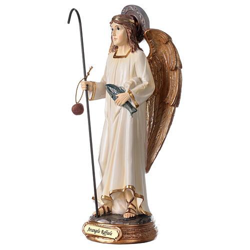 Statua Arcangelo Raffaele bianco oro resina 20 cm 2