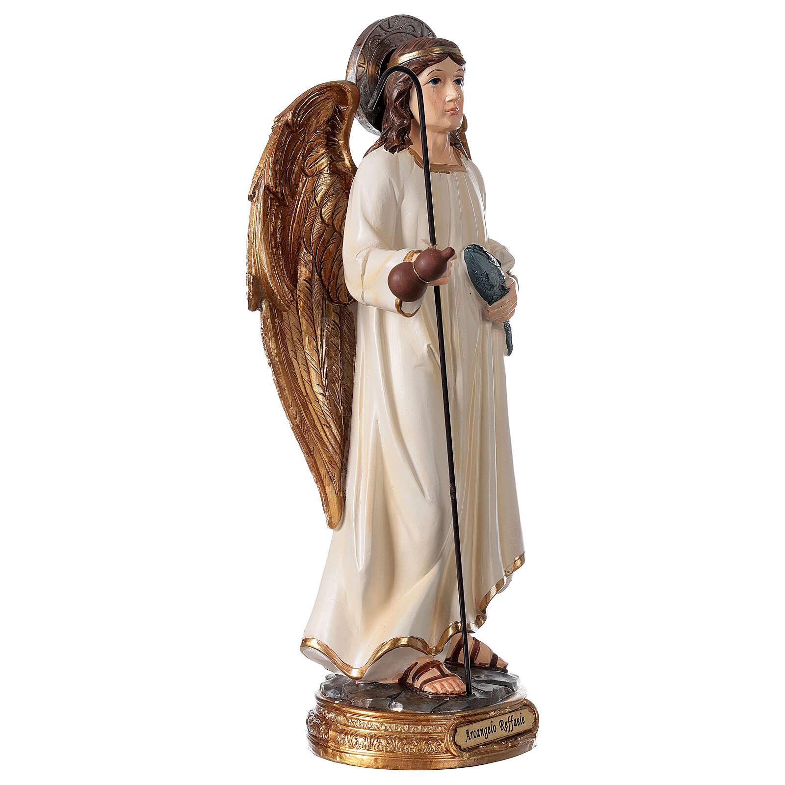 Archange Raphaël statue résine 29 cm poisson canne 4