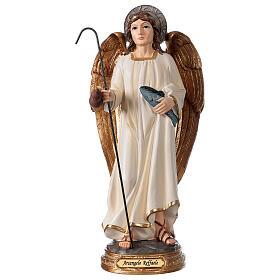 Archange Raphaël statue résine 29 cm poisson canne s1