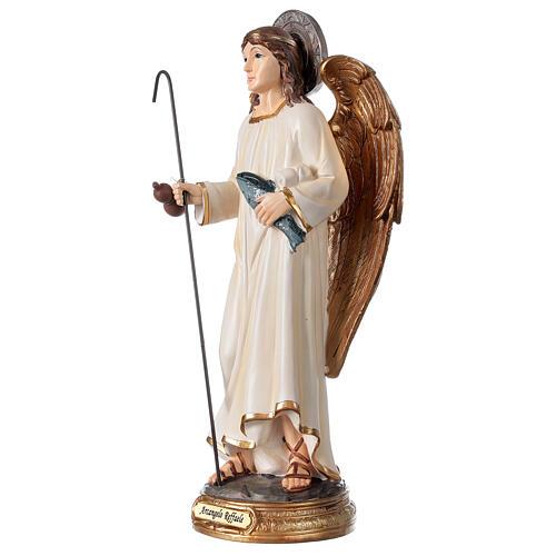 Archange Raphaël statue résine 29 cm poisson canne 2
