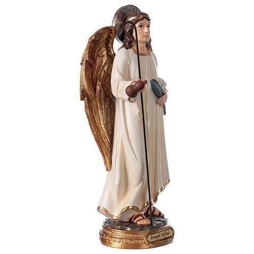 Archange Raphaël statue résine 29 cm poisson canne 3