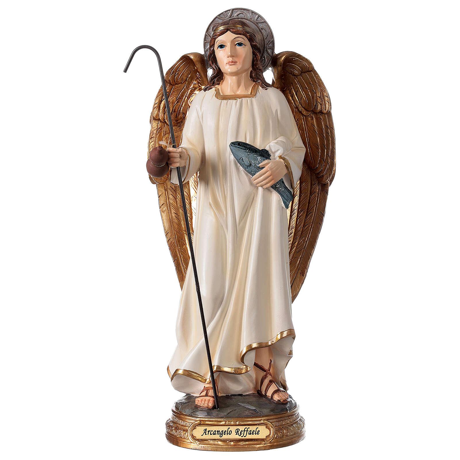 Arcangelo Raffaele statuetta resina 29 cm pesce bastone 4