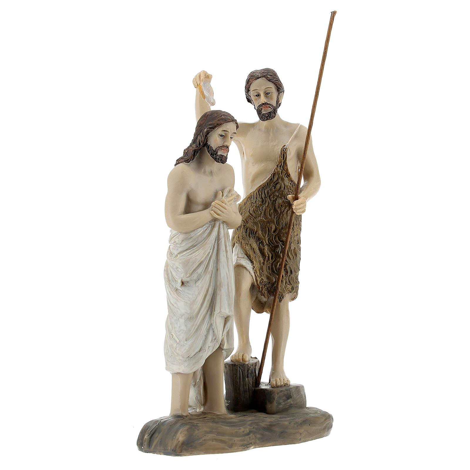 Statue Baptême Jésus Jean le Baptiste résine 13 cm 4