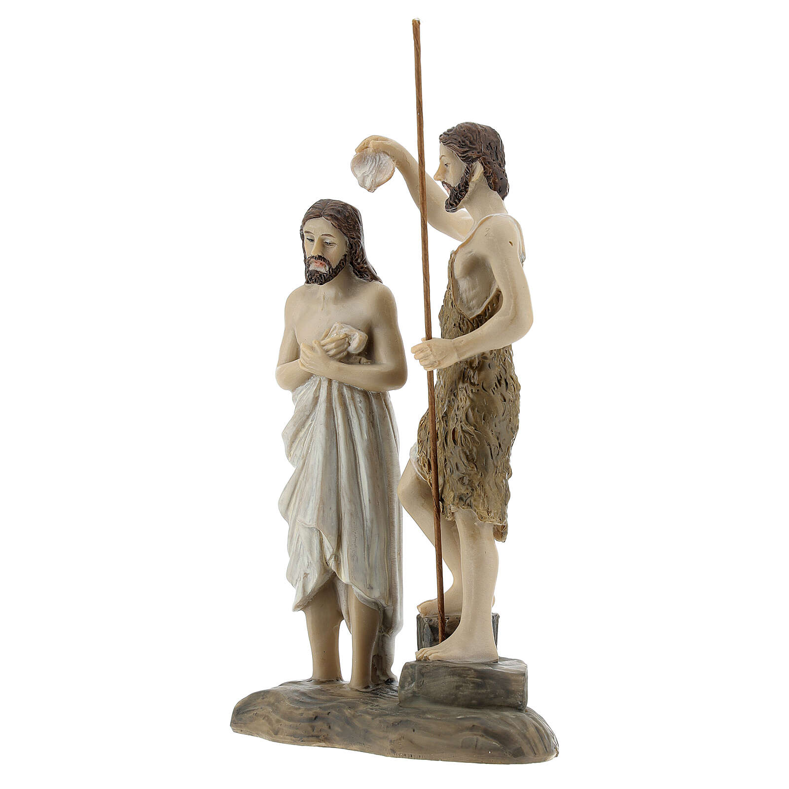 Statua Battesimo Gesù San Giovanni resina 13 cm 4