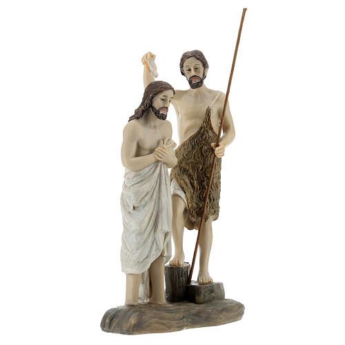 Statua Battesimo Gesù San Giovanni resina 13 cm 3