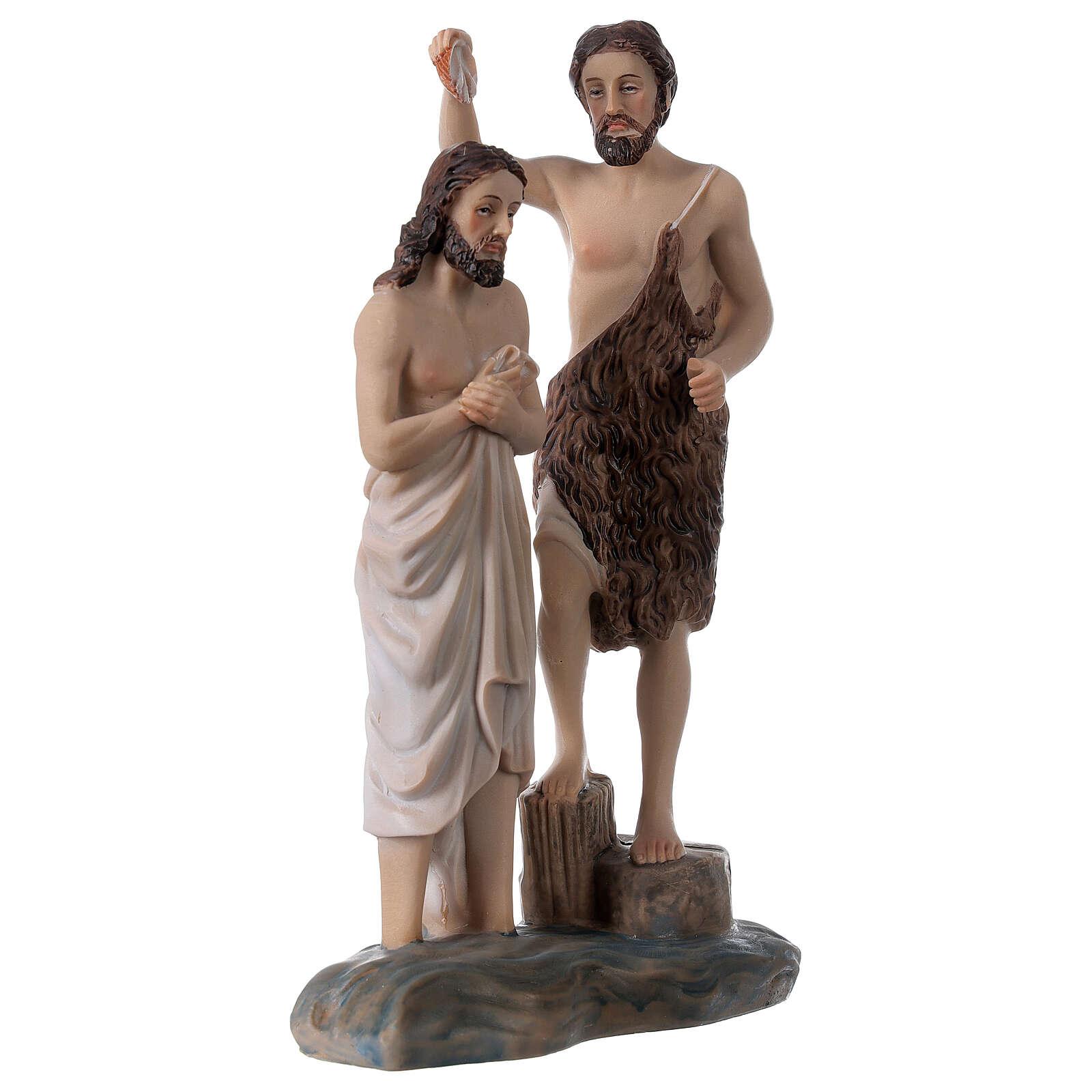 Baptême Jésus rivière Jourdain Baptiste résine 20x12x5 cm 4