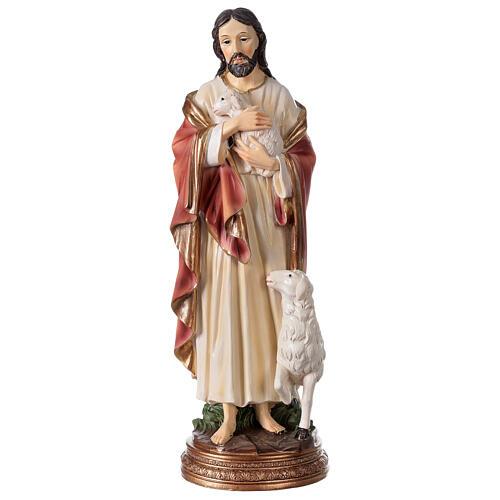Bon Pasteur Jésus avec agneau statue résine 30 cm 1