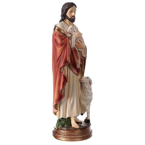 Bon Pasteur Jésus avec agneau statue résine 30 cm 3