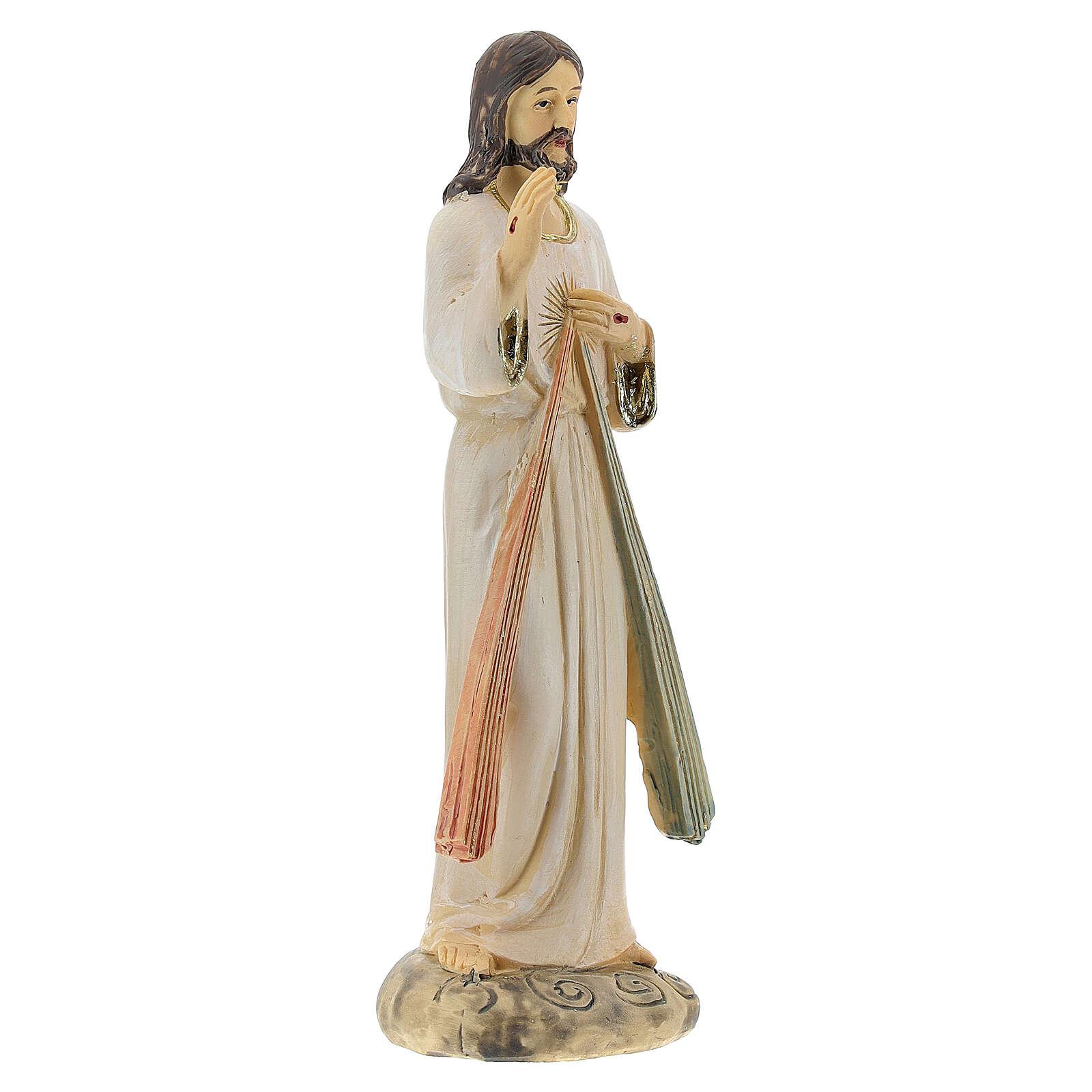 Statue Christ Miséricordieux deux rayons résine 12,5 cm 4