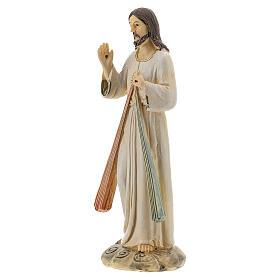 Statue Christ Miséricordieux deux rayons résine 12,5 cm s2