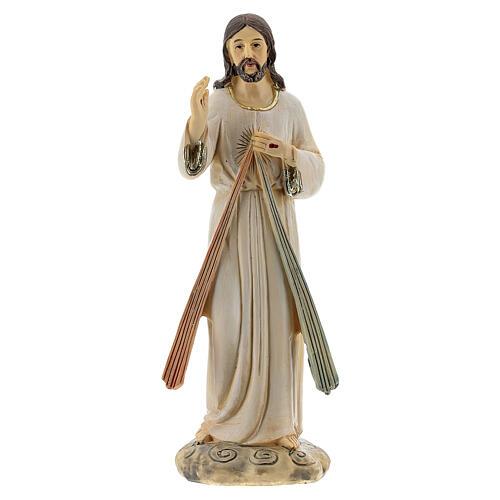 Statue Christ Miséricordieux deux rayons résine 12,5 cm 1