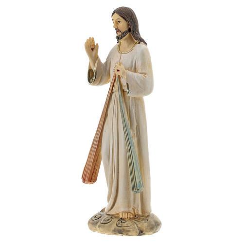 Statue Christ Miséricordieux deux rayons résine 12,5 cm 2