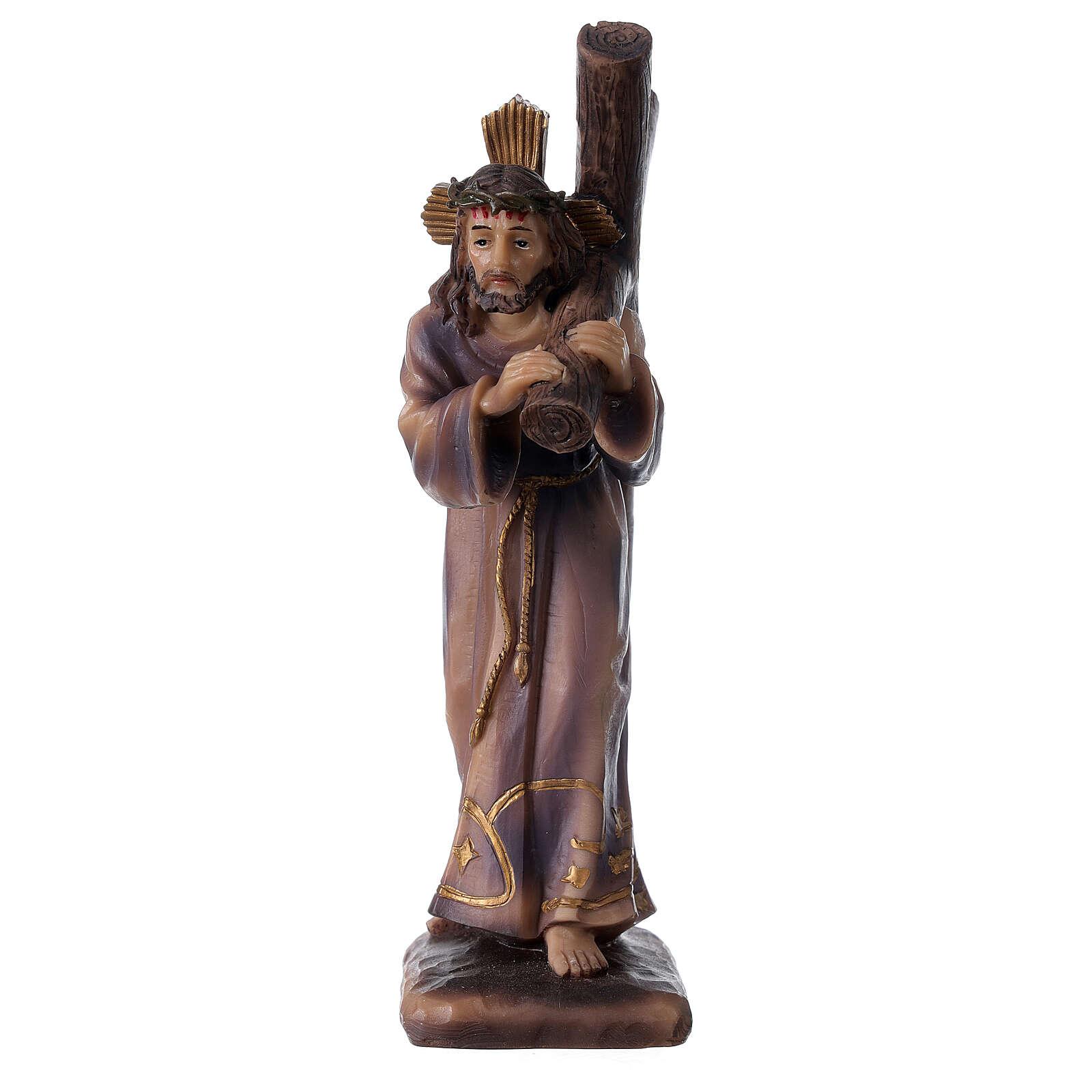 Statue Jésus porte la Croix Calvaire résine 18 cm 4