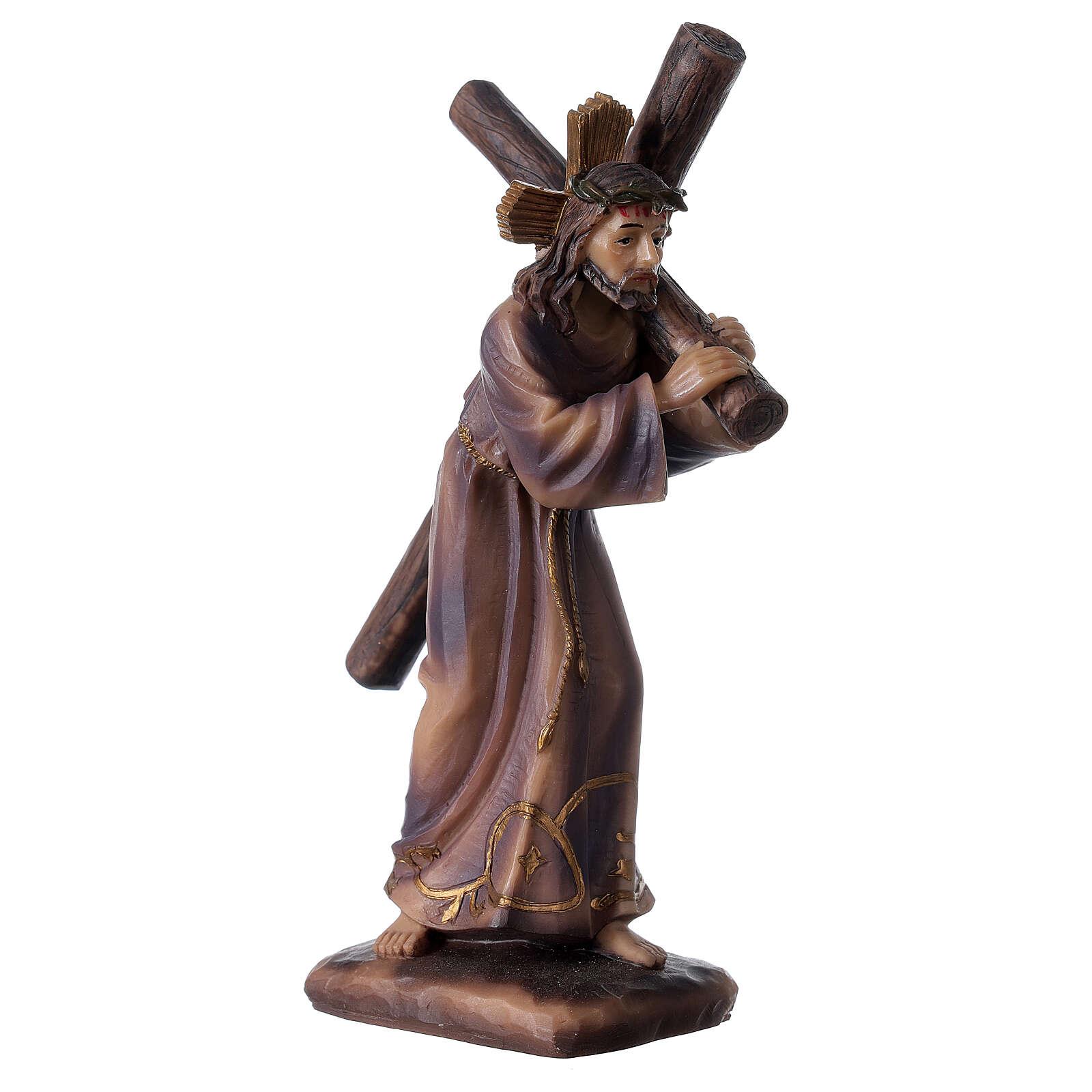 Statua Gesù porta croce Calvario resina 18 cm 4
