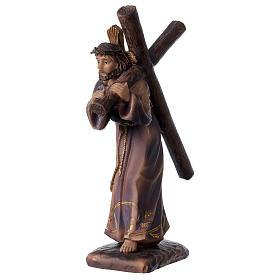 Statua Gesù porta croce Calvario resina 18 cm s2