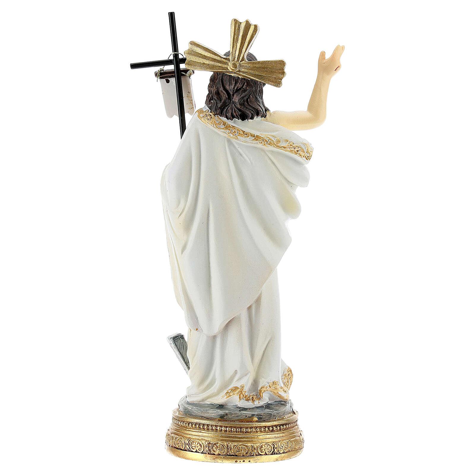 Christ Ressuscité canne drapeau 14 cm résine 4