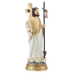 Christ Ressuscité canne drapeau 14 cm résine s3