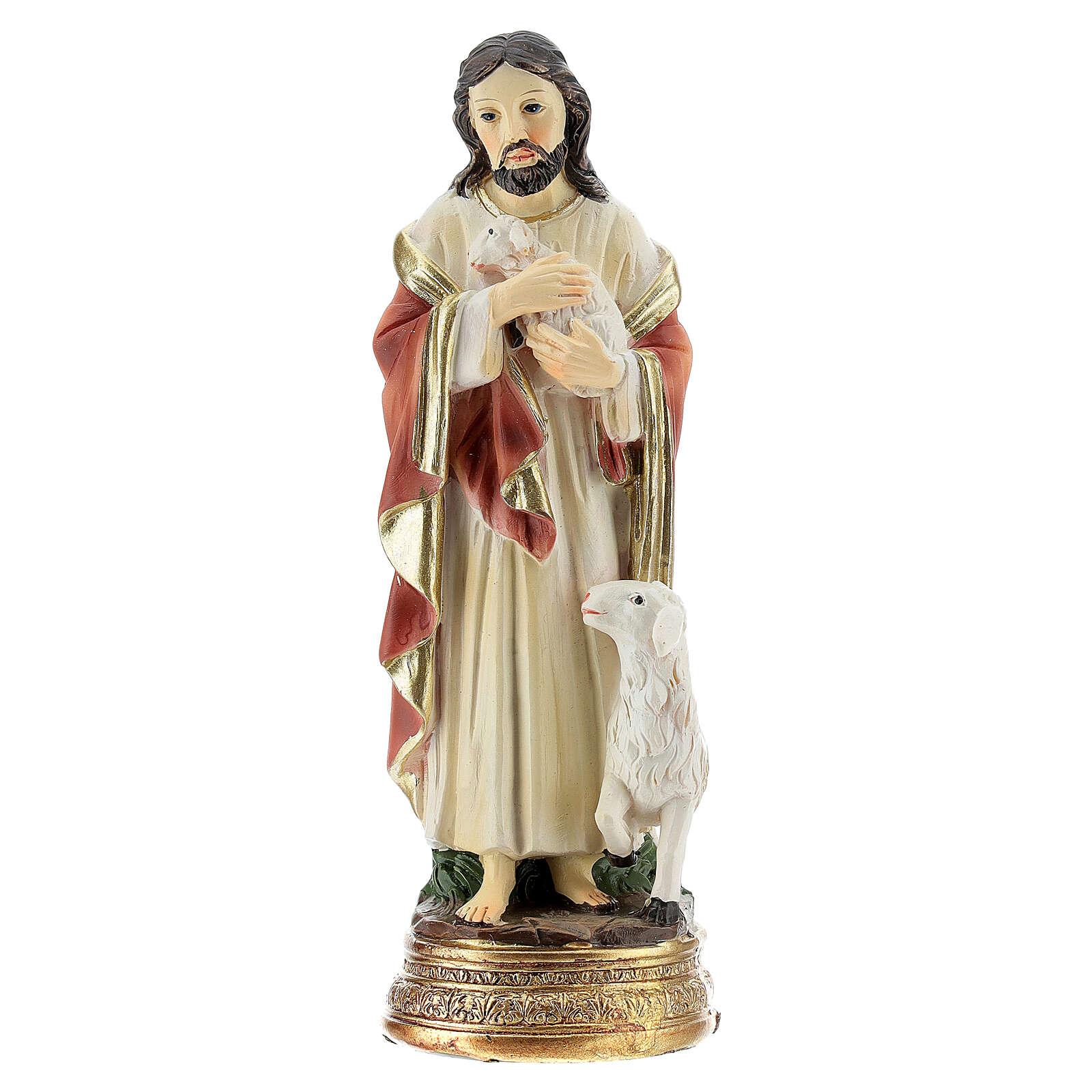 Jésus Bon Pasteur 12 cm statue résine 4