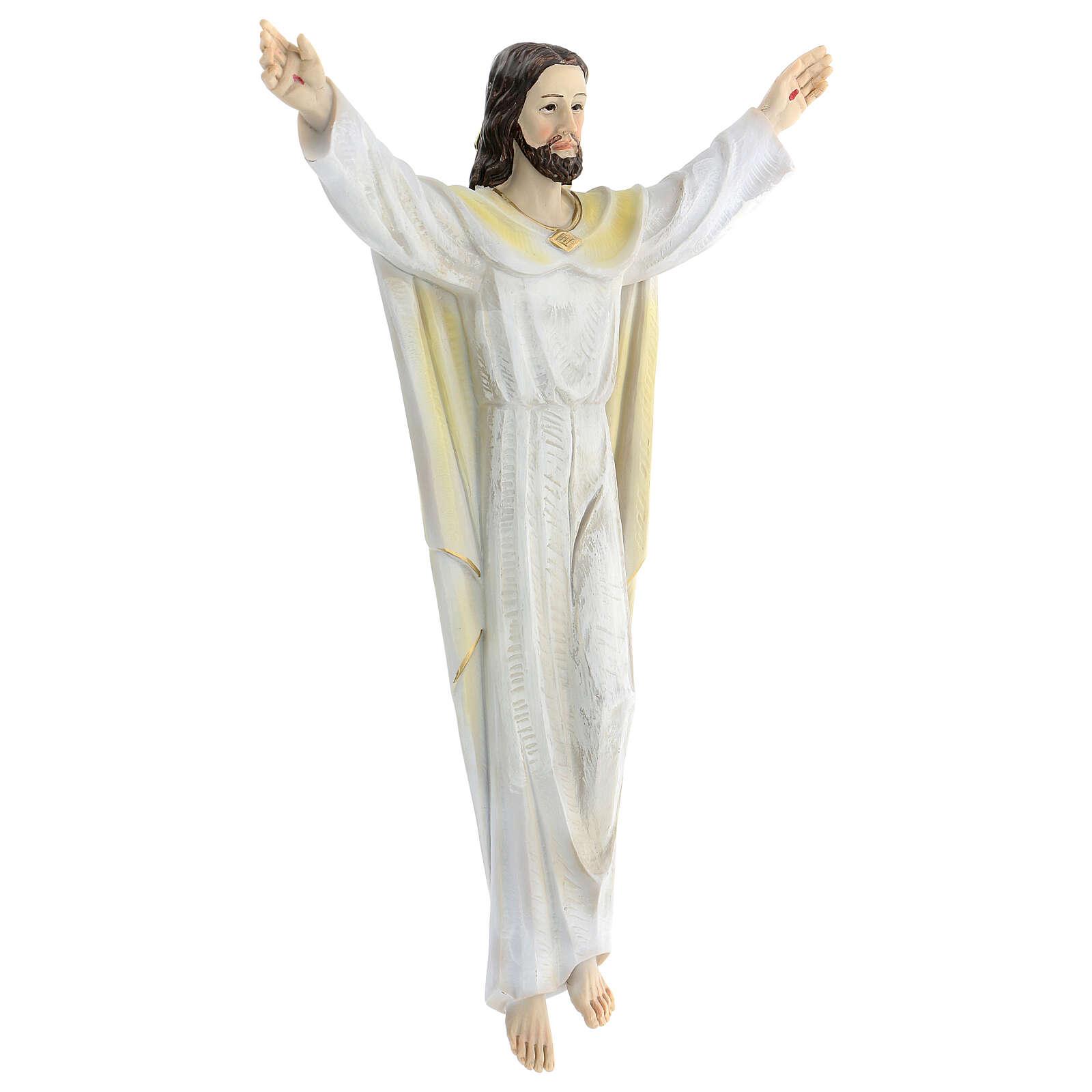 Gesù Risorto 30 cm statua resina dipinta da appendere 4