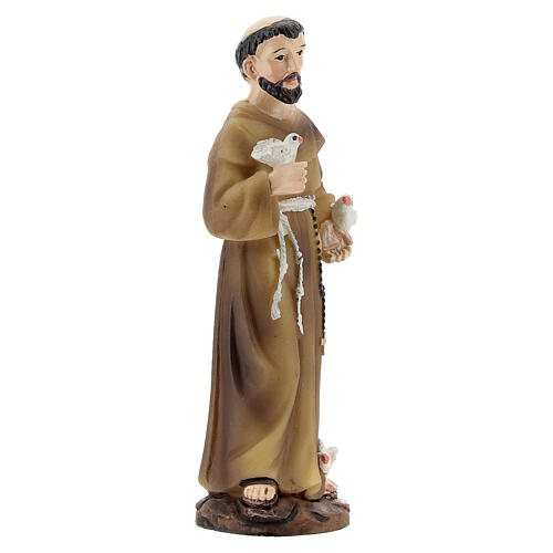 San Francesco uccellini statua resina dipinta 9 cm 3