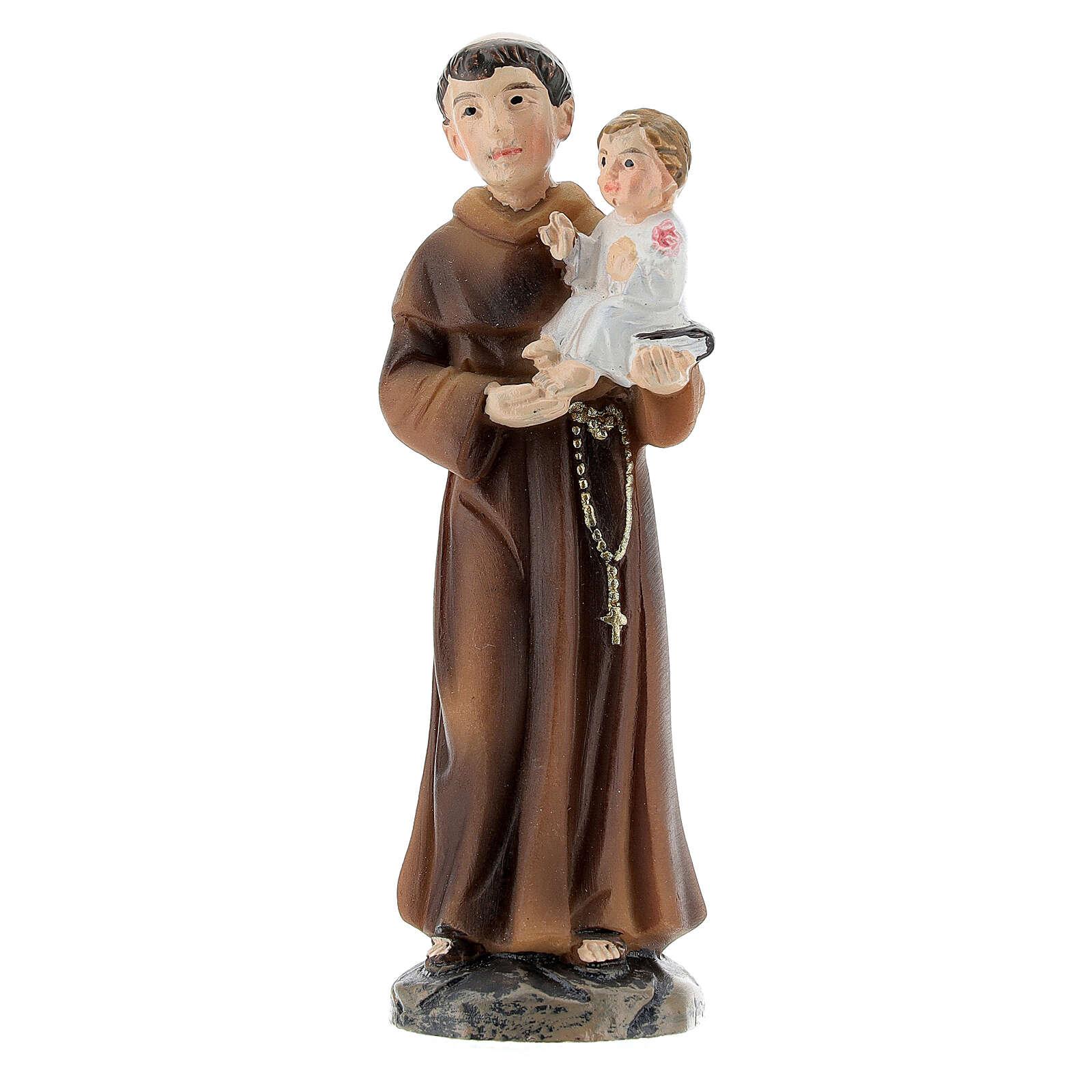 Statue Saint Antoine avec Enfant résine peinte 9 cm 4