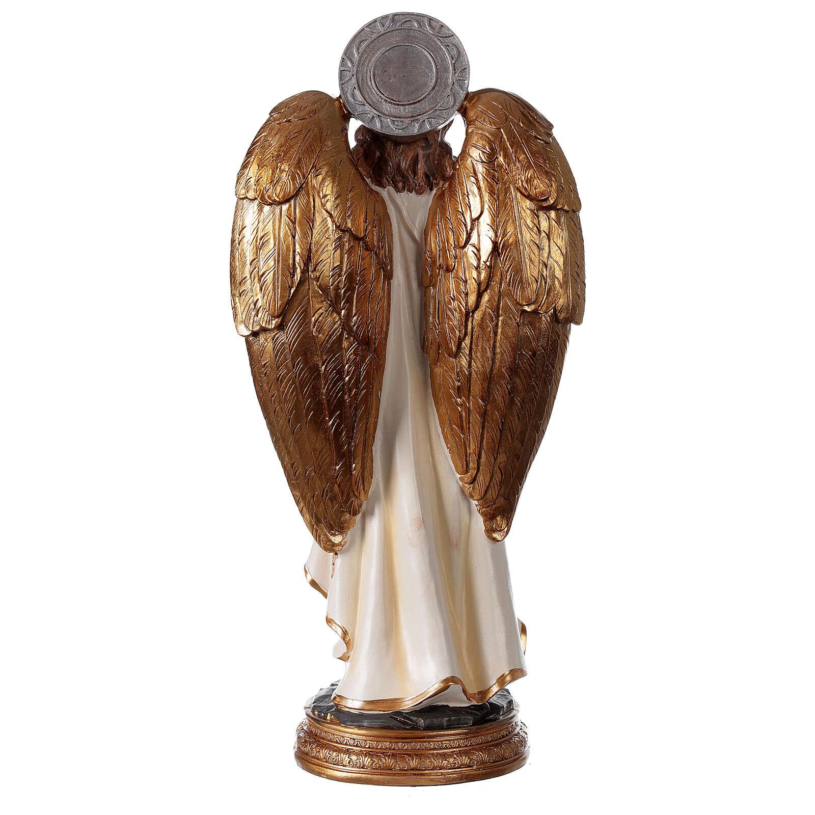 Statue Archange Gabriel détails or peinte sur base ronde 30 cm 4