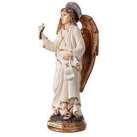 Statue Archange Gabriel détails or peinte sur base ronde 30 cm s2