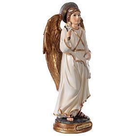Statue Archange Gabriel détails or peinte sur base ronde 30 cm s3