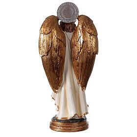 Statue Archange Gabriel détails or peinte sur base ronde 30 cm s4