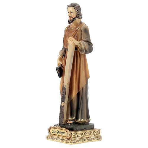 Estatua San José carpintero resina pintada 15 cm