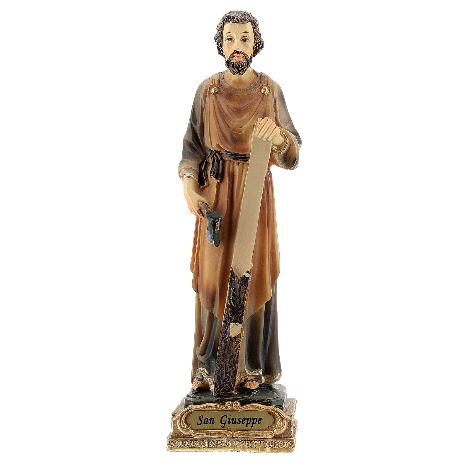 Statua San Giuseppe falegname resina dipinta 15 cm 4