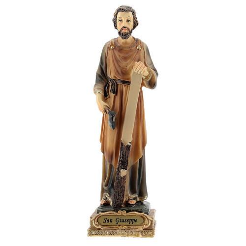 Statua San Giuseppe falegname resina dipinta 15 cm 1