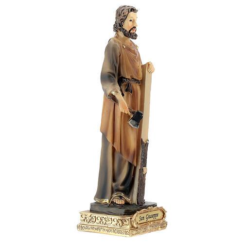 Statua San Giuseppe falegname resina dipinta 15 cm 3