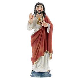 Sagrado Coração de Jesus imagem resina 9 cm pintada