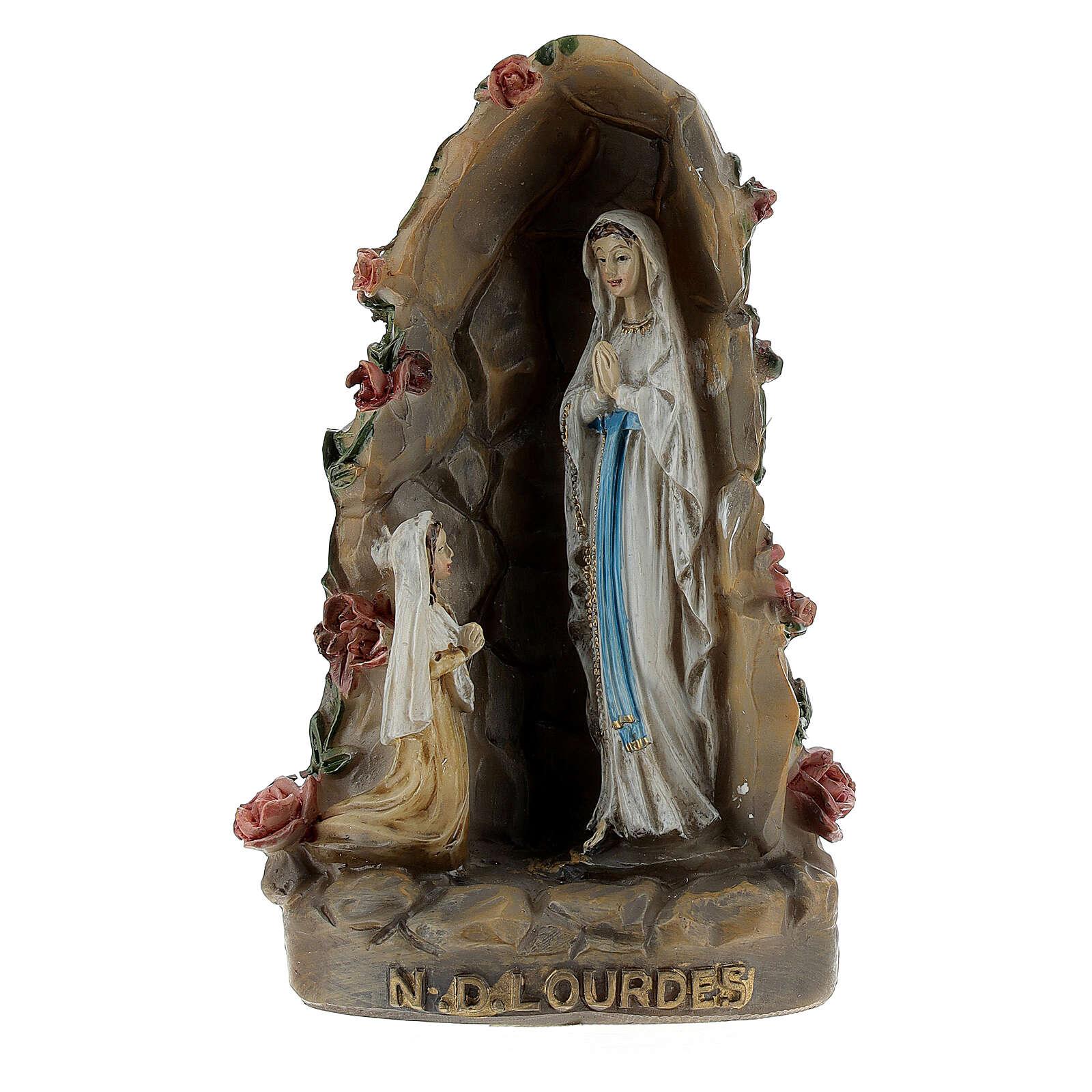 Notre-Dame de Lourdes grotte résine peinte 10 cm 4