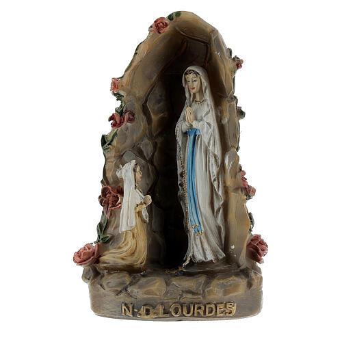 Notre-Dame de Lourdes grotte résine peinte 10 cm 1