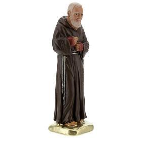 Padre Pío 20 cm estatua yeso coloreada a mano Barsanti s4