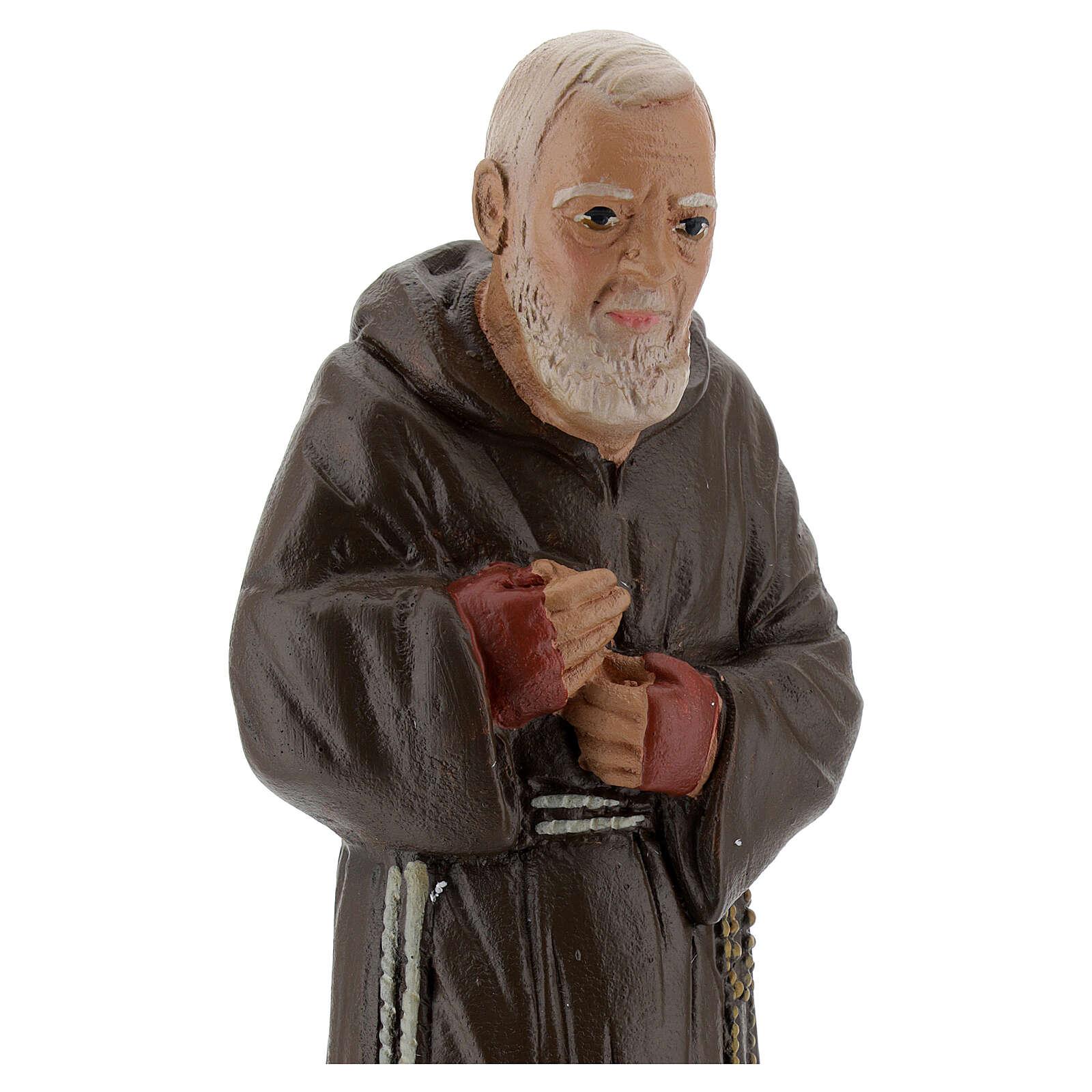 Padre Pio 20 cm statue plâtre coloré main Barsanti 4