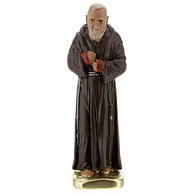 Padre Pio 20 cm statue plâtre coloré main Barsanti s1