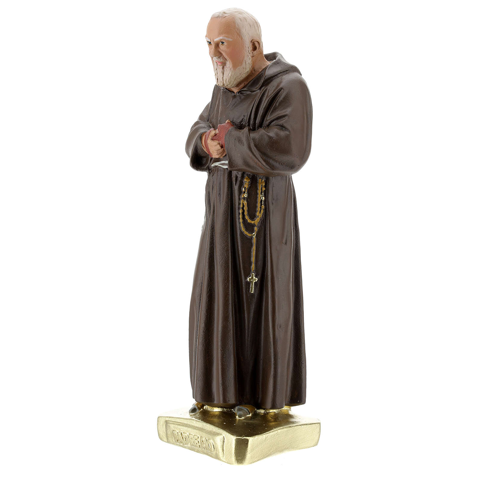 San Pío 30 cm estatua yeso coloreada a mano Barsanti 4