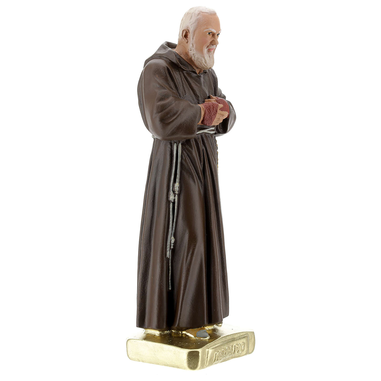 Saint Pio 30 cm statue plâtre coloré main Barsanti 4
