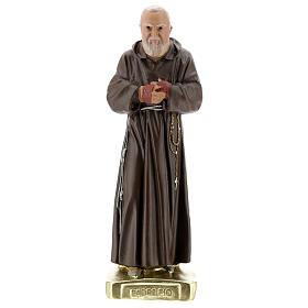 Saint Pio 30 cm statue plâtre coloré main Barsanti s1