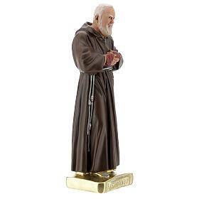 Saint Pio 30 cm statue plâtre coloré main Barsanti s3