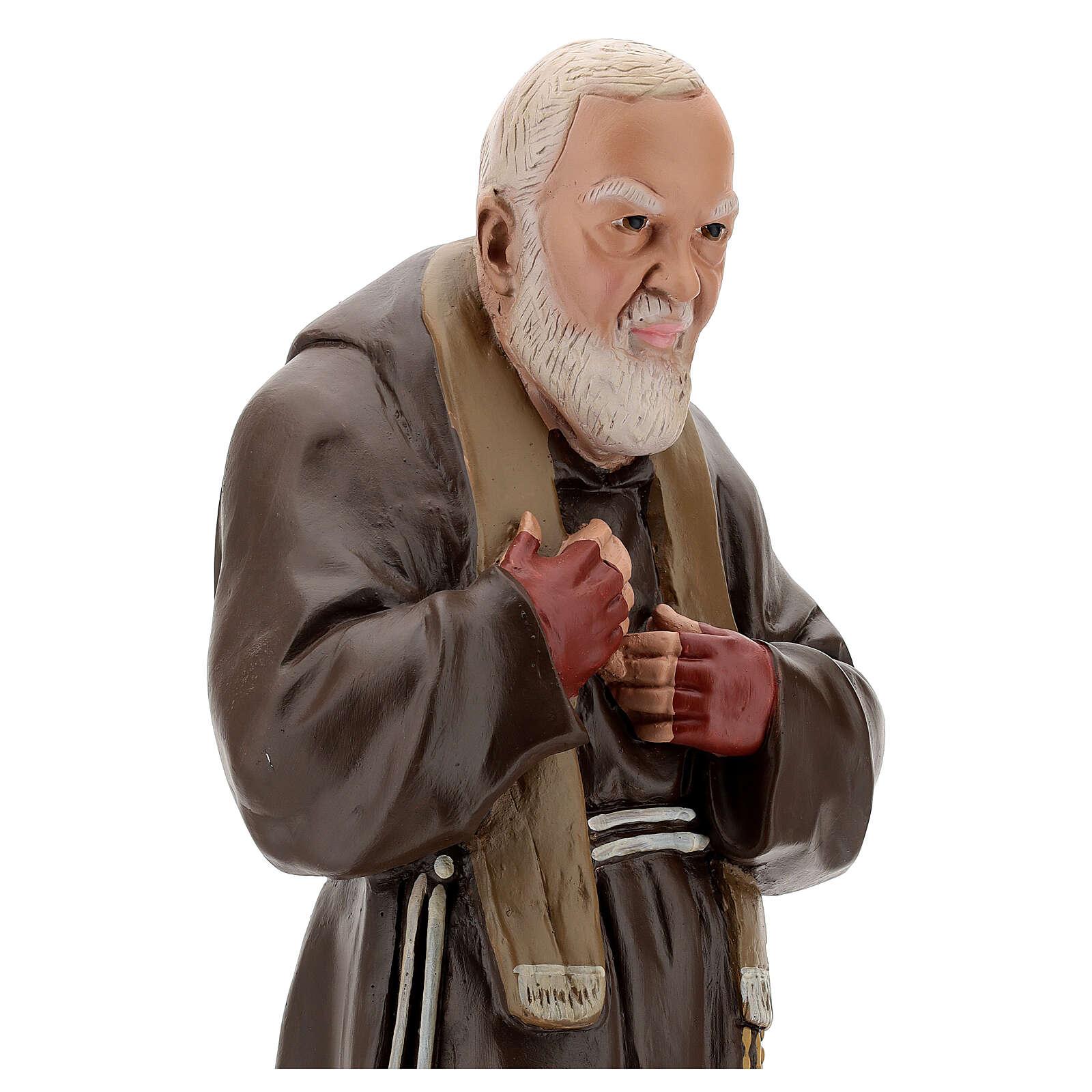 Estatua Padre Pío 60 cm yeso pintado a mano Barsanti 4