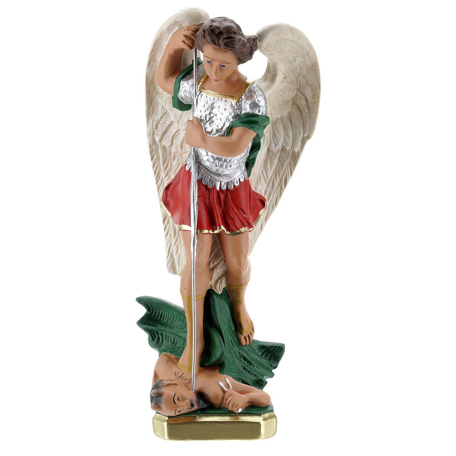 Statuette St. Michael 30 cm plaster hand painted Arte Barsanti 4