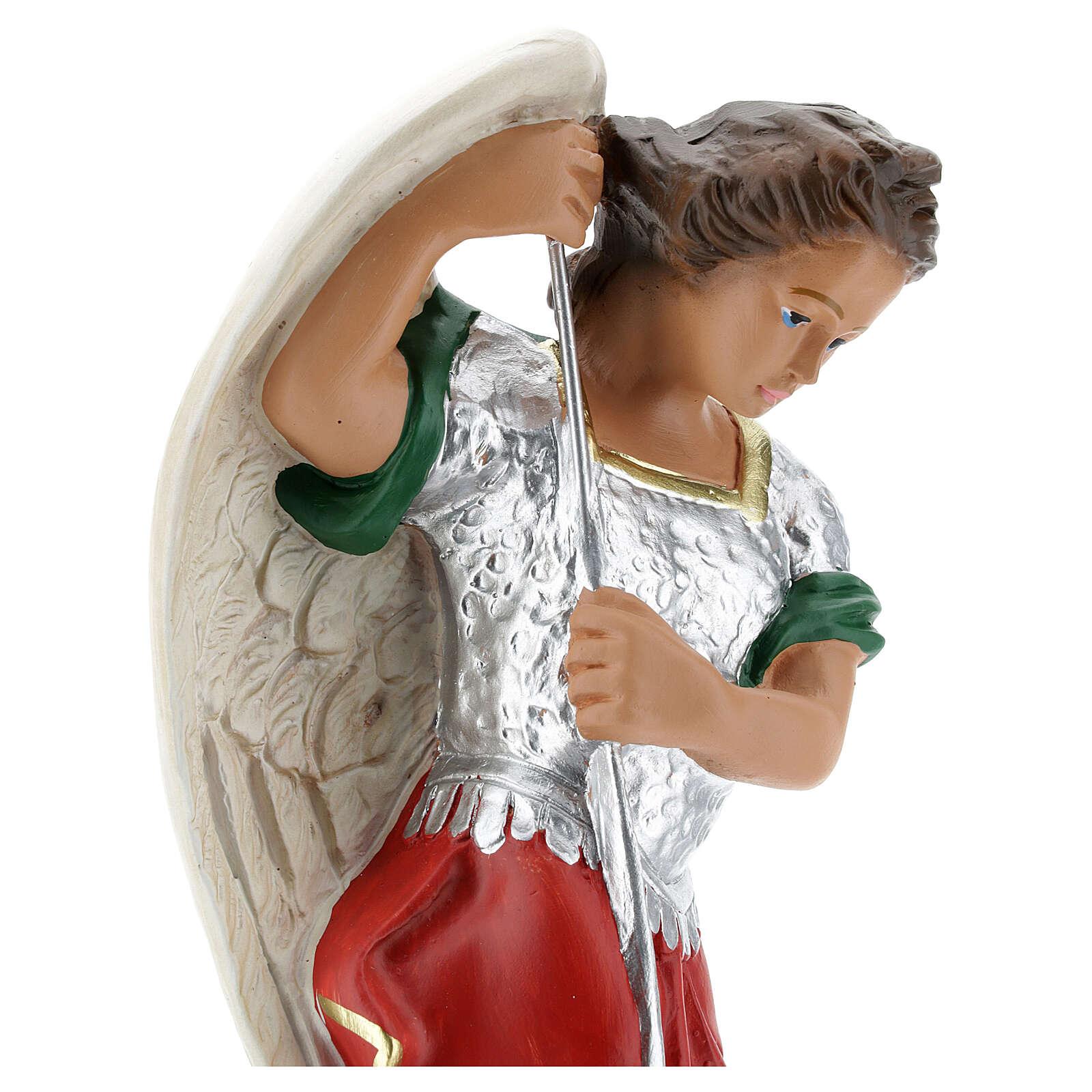 Saint Michel statue plâtre 30 cm peinte à la main Barsanti 4