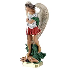 Saint Michel statue plâtre 30 cm peinte à la main Barsanti s3