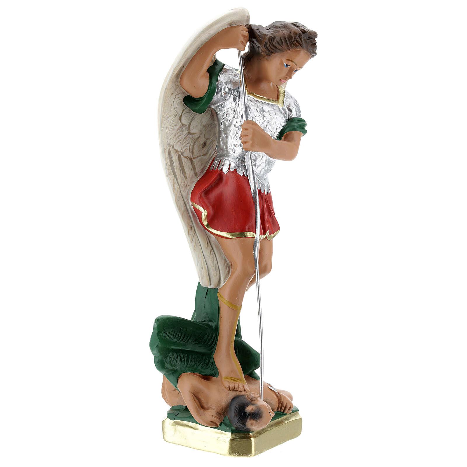St. Michael statue, 30 cm in hand painted plaster Barsanti 4